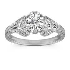 engraving engagement ring vintage cathedral diamond engagement ring with milgrain and