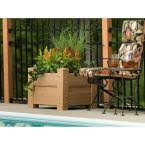 veranda 24 in square natural cedar vinyl planter box 90502hd