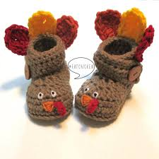 crochet baby turkey booties fall baby booties for thanksgiving