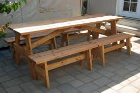 picnic table with separate benches outdoor furniture made in milwaukie or m m creations