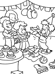 opening present birthday party coloring pages netart