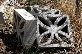 decorative cinder blocks piled in the garden picture free