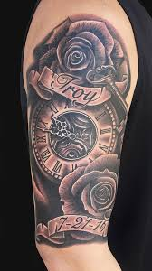 memorial black ink clock with roses and banner tattoo on right