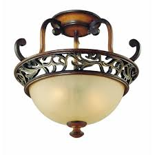 Hampton Bay Outdoor Light Fixtures by Hampton Bay Caffe Patina 2 Light Semi Flush Mount Light 16008