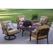 Patio Furniture Set With Fire Pit Table - darlee elisabeth 5 piece cast aluminum patio fire pit conversation