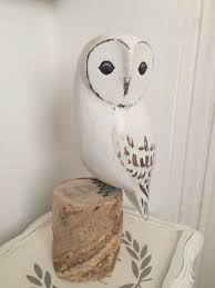 large carved wooden snowy owl vintage pink gifts and crafts