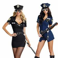 women black blue police cop uniform officer halloween costume