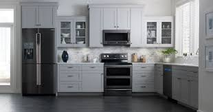 gray kitchen cabinets with black stainless steel appliances black stainless steel appliances reviews pros and cons