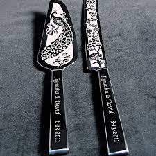 wedding cake cutting set personalized peacock wedding cake server knife set the wedding
