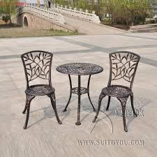 Aluminum Bistro Table And Chairs Outdoor Patio Garden Bistro Set Furniture 3pcs Bamboo Leaves