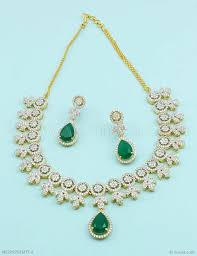 new necklace set images Buy beautiful emerald green cz ad american diamond necklace set jpg