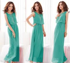 stylish candy solid full length casual women chiffon long tube