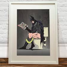 Batman Desk Accessories Batman On The Toilet Print Thebazaarist