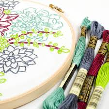 Succulent Kits by Studio Mme Succulent Garden Embroidery Kit Kreatelier