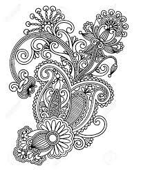 hand draw line art ornate flower design ukrainian traditional