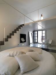 bedroom awesome loft bedrooms ideas with white round bed and