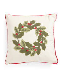 18x18 plush braided wreath pillow holiday decor t j maxx