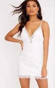 shift dress giggi white strappy lace shift dress dresses prettylittlething usa