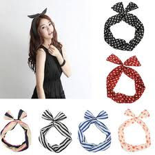 ribbon headband retro polka dot hair band ear ribbon headband turban hair