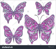 vector set pink ornamental butterflies isolated stock vector