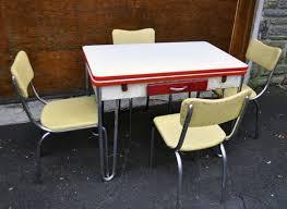Red And White Kitchen Table W Chrome Legsorgin Antiques Board - Chrome kitchen table