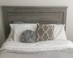 Grey Washed Cabinets Gray Wood Headboard Gray Platform Bed White Matresses Gray
