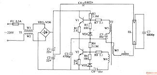 fluorescent light driver circuit and project lamp schematic