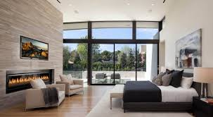 two story modern minimalist master bedroom with large balcony