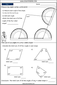 Sum Of The Interior Angles Of A Polygon Worksheet Using A Protractor To Measure Angles In Shapes Mathematics Skills