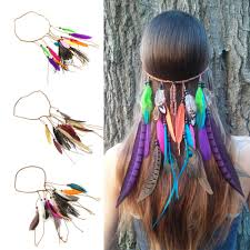 feather hair accessories 1pc headband hair clip braided feather hair band fashion elastic