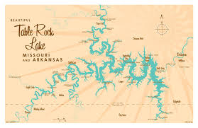 cove lake of the ozarks map table rock lake mo map print
