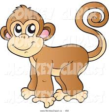 clip art of a monkey with a curled tail looking left by visekart