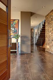 metallic porcelain tile entry contemporary with cable railing