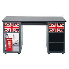 deco bureau pro bureau 2 tiroirs gris imprimé london maisons du monde
