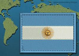 argentina rectangle flag embroidery design with a colour coded border