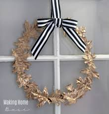 fall wreath made with gold leaves easy to follow tutorial