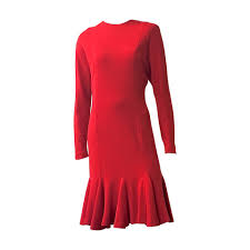 hanae mori boutique for neiman marcus 1980s red wool jersey dress