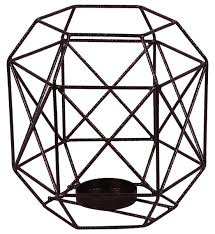 brown tea light candle holder u2013 cast in iron u2013 3d geometric design