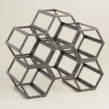 black hexagonal wine rack world market