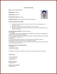 Job Resume Biodata by 13 Biodata Format For Teaching Job Sendletters Info