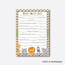 baby mad libs baby shower mad libs party and printables