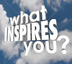what inspires you words in 3d letters on a background of clouds to