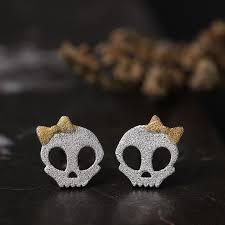 store stud earrings silver bow skull stud earrings alfonsocarter store