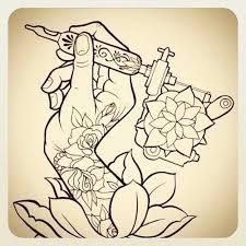 tattoo gun sketch tattoo sketch hand with tattoo machine and rose tattoos hands