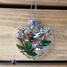 Gisela Graham Christmas Decorations Wholesale by Gisela Graham Glass Heart Robin Holly Glitter Christmas Tree