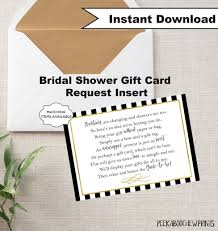 Card Inserts For Invitations Display Shower Gift Card Unwrapped Gift Request Poem Insert