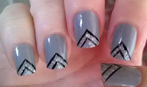 life world women grey black and silver glitter nail design