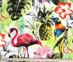 one yard braemore pineapple flamingo art collage fuchsia tropical