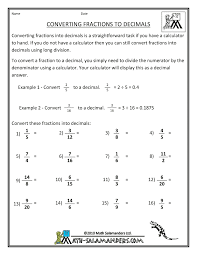 Worksheet On Converting Decimals To Fractions Equivalent Forms Of Fractions Decimals And Percents Lessons