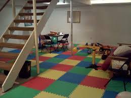 impressive interior basement using colorful carpet also lush table